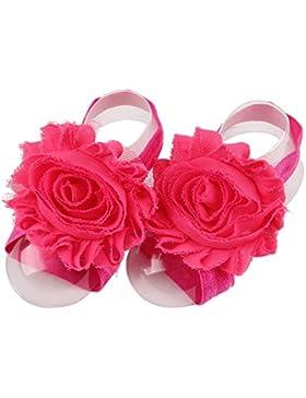 Scrox Linda Zapatos para bebé Multicolor Girasol de Gasa Bebé Flores de Cinta Descalza Sandalias Zapatos (Rosa...