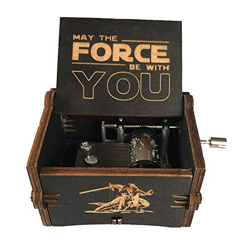 Caja de música de manivela de madera tallada antigua, caja musical exquisita del tema retro para el regalo del día de fiesta de cumpleaños size Star Wars