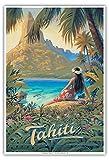 Tahiti - Île du Paradis - Îles de la Société - Affiche ancienne vintage tourisme voyage du monde mondial Poster by Kerne Erickson - Reproduction Professionelle d'art Master Art Print - 33cm in x 48cm...