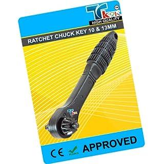 Power Tool Accessories Chucks Ratsche Chuck Schlüssel 10mm & 13mm Umschaltknarre Mechanismus für schnelle Chuck Anpassung. DUAL HEAD passend für die meisten gängigen 10mm und 13mm Chucks. Langlebig Gummi Griff.