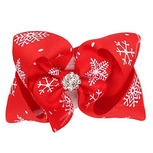 Rot-haar-feder-haar-bogen (Weihnachten Bogen Feder Haar Band Urlaub Baby Kopfschmuck,Red-OneSize)