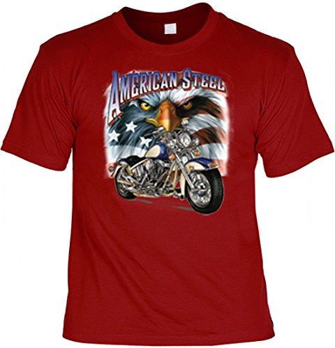 T-Shirt - American Steel Adler rot - bedrucktes Motivshirt als originelles Geschenk für USA Biker und Motorrad-Fahrer, Größe:L