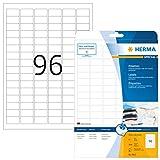 HERMA 8832 Universal Etiketten für Inkjet Drucker DIN A4 (30,5 x 16,9 mm, 25 Blatt, Papier, matt) selbstklebend, bedruckbar, permanent haftende Aufkleber, 2.400 Klebeetiketten, weiß