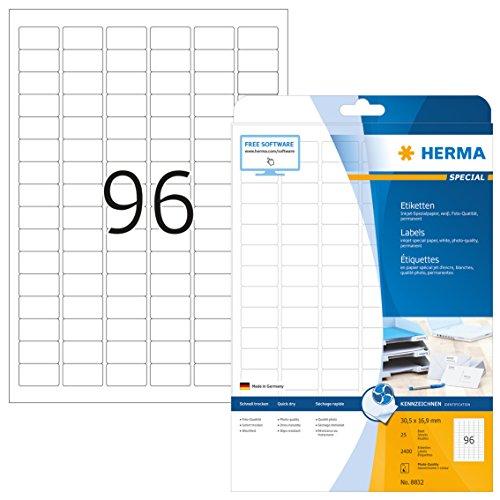Herma 8832 Tintenstrahldrucker Etiketten Foto-Qualität (30,5 x 16,9 mm, DIN A4 Papier) weiß, 2.400 St., 25 Blatt, bedruckbar, selbstklebend