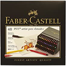 Faber-Castell 167148 - Estuche estudio con 48 rotuladores Pitt punta de pincel, multicolor