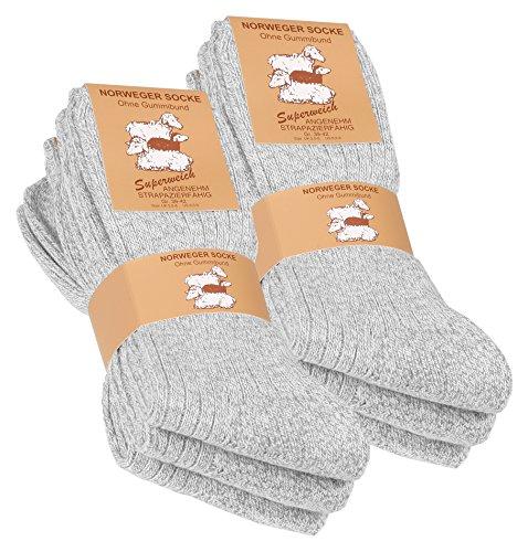Lot de 6 paires de chaussettes norvégiennes - laine épaisse - semelle molletonnée - gris chiné - taille 43/46