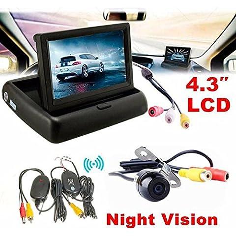 Aparcamiento Kit, hansee® 4.3coche de visión trasera Monitor inalámbrico de coche para copia de seguridad sistema de estacionamiento de cámara Kit
