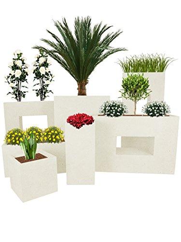 Pflanzwerk® Pot de Fleur Fibre de Verre Vista Jardinière Sable 53x75x27cm XXL *Résistant au Gel* *Protection UV* *Qualité européenne*