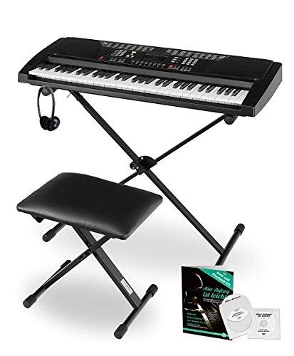 Funkey Super Kit 61 Tasten Keyboard Set (Elektronisches Unterrichts-Keyboard mit LCD Display, inklusive Ständer, Hocker und Kopfhörer) schwarz
