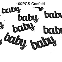 Woparty Litter Black Baby Confetti Paper Table Confetti for Baby Showers Birthday Party Decorations Pack of 100