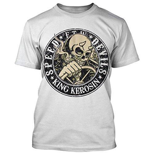 King Kerosin Herren T-Shirt Schädel - Speed Devils Weiß Weiß