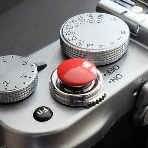 Métallique Soft Déclencheur en rouge (convexe, 10mm) pour Leica M-Serie, Fuji X100, X100S, X100T, X10, X20, X30, X-Pro1, X-Pro2, X-E1, X-E2, X-E2S et tous les appareils photos avec la bouche filetage conique