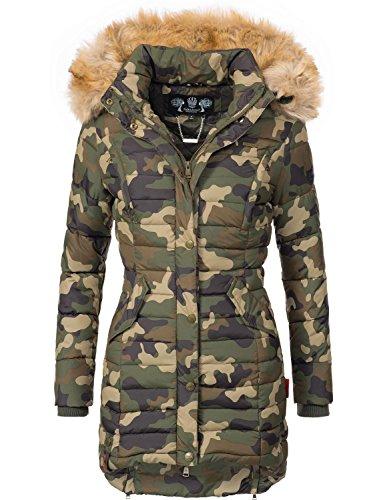Navahoo Damen Winter Mantel Steppmantel Täubchen (vegan hergestellt) Camouflage Gr. XL (Mantel Jacke Gesteppte)