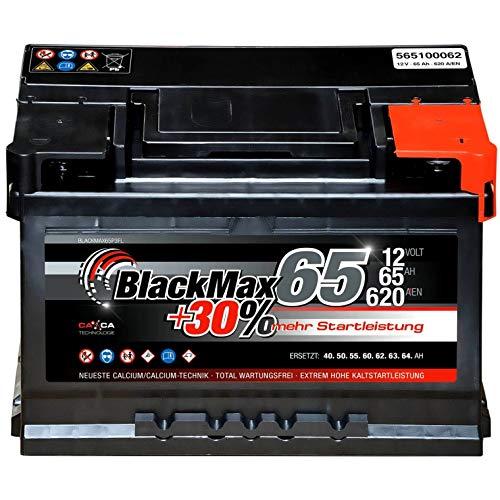 Autobatterie 12V 65Ah 620A BlackMax Starterbatterie ersetzt 55Ah 60Ah 61Ah 62Ah 63Ah