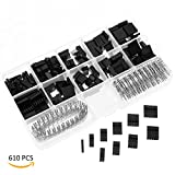 YoungRich 610PCS 2.54mm Pitch Connector Male Female Wire Jumper 1Pin to 10Pin Header Housing Assortment Kit Electronic Components for Dupont Arduino Raspberry Pi with Plastic Box