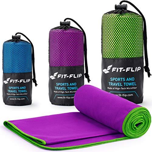 Fit-Flip Lila mit grünen Rand, 1x 200x100cm | Handtuch mikrofaser Kinder Handtuch mikrofaser klein Handtuch mikrofaser leicht