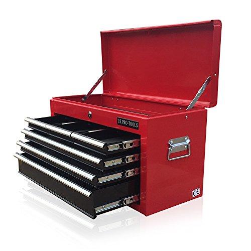 US PRO TOOLS Tool Box 6Schublade Mobile Tool Brust Tragbarer Werkzeugschrank, rot schwarz Kugellager Slide Schubladen (Schwarz-mobile-tool-box)