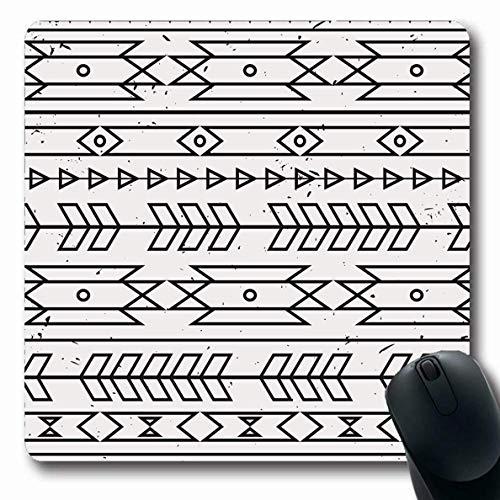 Mousepads Amerikanisch-böhmisches einfarbiges ethnisches abstraktes Boho geometrisches Ikat alter Apache-Pfeil-Stammes- längliche Form-rutschfestes Spiel-Mausunterlage Gummi-längliche Matte,Gummimatte