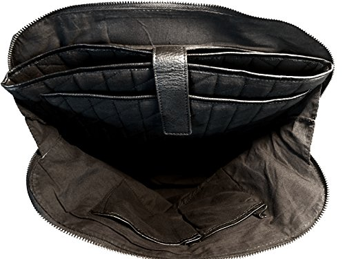 manbefair Shopper Laptoptasche Helena, Fair Trade Damentasche, Ledertasche, Schultertasche, Handtasche 40x30x13 cm (BxHxT) Blau