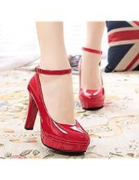 Xue Qiqi Ultra-Alta como Calzado Grueso con Cabeza Redonda Solo Zapatos único Impermeable Negro Correa Profesional...