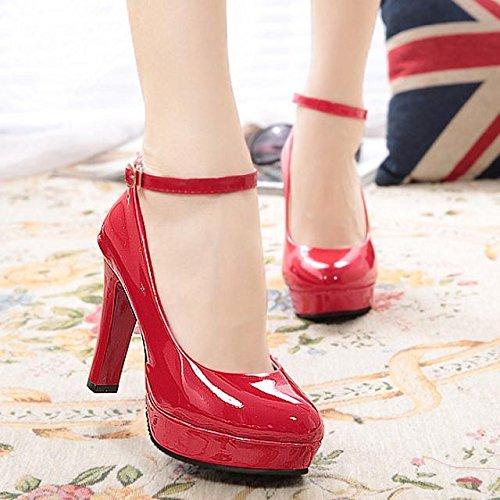 Xue Qiqi Ultra-Hoch - Wie Schuhe, Runder Kopf Dick mit Single's Schuhe Wasserdicht Einzelne Schwarze Professional Armband Damen Schuhe Rot Hochzeit Schuhe, 40, Rot Leder -