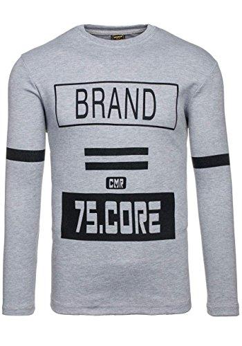 BOLF Herren Longsleeve Langarmshirt Sweatshirt Poloshirt T-Shirt Mix 1A1 Motiv Grau_4634