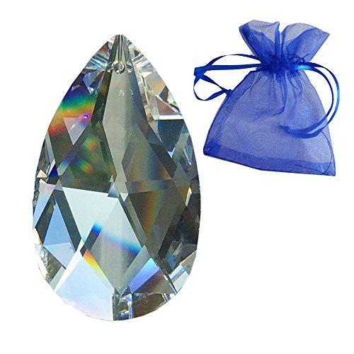 STRASS Kristall Rautenwachtel L. 50mm im feinem Geschenkbeutel Regenbogenkristall Hochwertiges Vollschliff-Kristall von SWAROVSKI Kronleuchter Behang Kristallglas -
