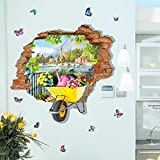 Flotador Estéreo 3D Pequeño pueblo Creative Wall Stickers Wall Decoraciones Wallpaper auto-adhesivo dormitorio caliente pegatina collage de dibujos animados