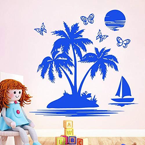 Carven Kokospalme Sonnenaufgang Vinyl Tapete Für Zuhause Haus Wohnzimmer Schlafzimmer Wand-dekor Aufkleber Wandbild Poster 58 cm X 76 cm