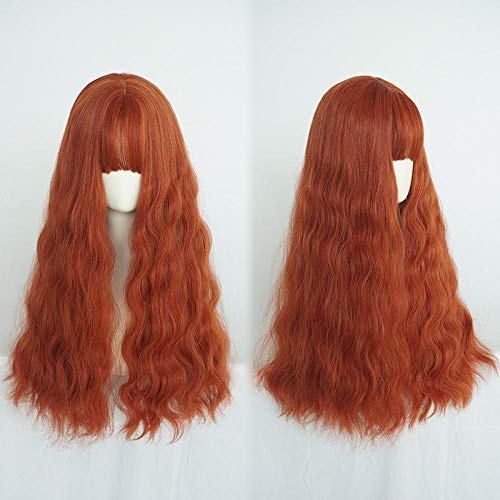 Perücke weiblich langes Volumen flauschige natürliche süße Orange Mais Hot Egg Roll Head volle Perücke Set
