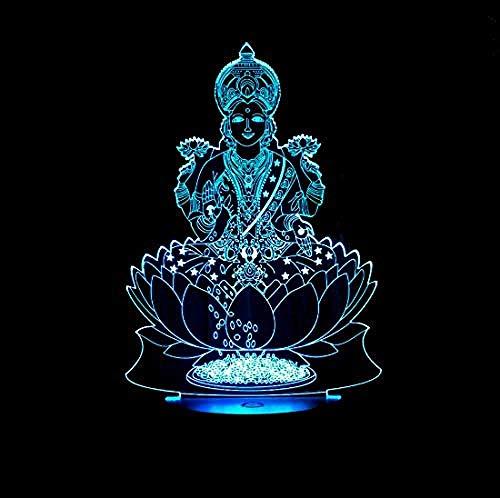Indische Fortuna Form 3D Nachtlicht USB Acryl kreative LED-Beleuchtung nach Hause Nachtlicht Kinder giftsCreative 7 Farbe Ersatz-Fernbedienung leuchtet Fortuna-form