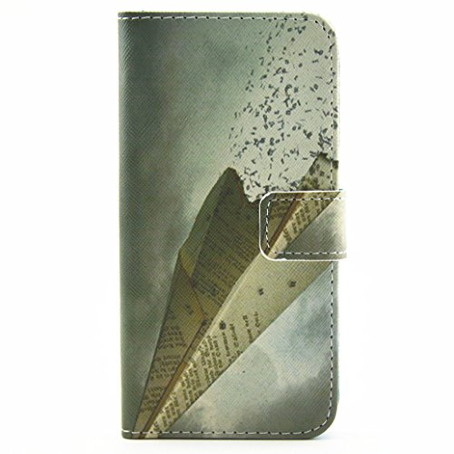 Voguecase® Pour Iphone SE Coque, Etui Housse Cuir Portefeuille Case Cover (visage souriant)de Gratuit stylet l'écran aléatoire universelle Avion en papier