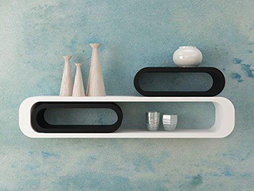 Ve.ca-italy set 3 mensole design cubi ovali colore bianco-nero