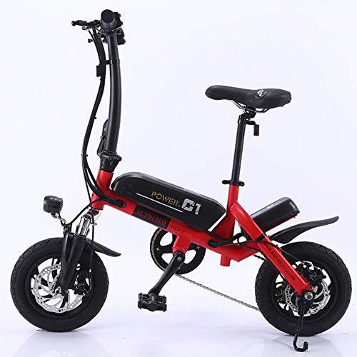 MZLJL montaña de la Bicicleta, la batería de Litio Inteligente C1 eléctrica Plegable Bike12inch Mini E-Bici Bicicleta eléctrica de 36V Super Mini E Bike 30 kilometros máxima del Palo, Rojo, China