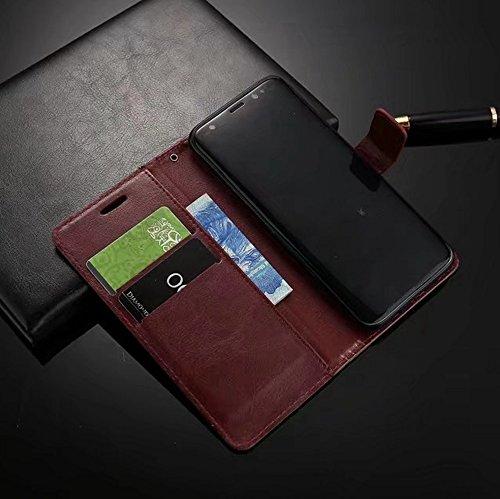 Retro Folio Stand Case Retro Classic PU Leder Geldbörse mit Kartensteckplätzen für OPPO R11 ( Color : White ) Black