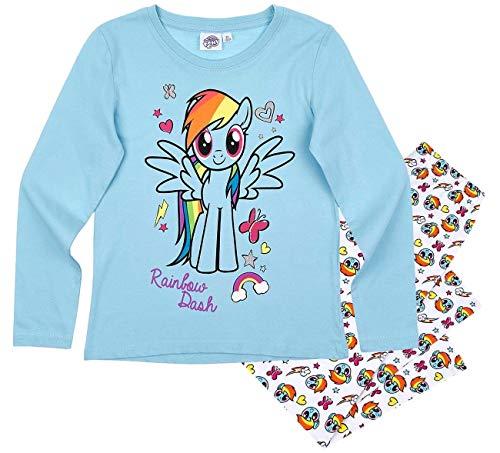 Pony My Little Schlafanzug Mädchen Lang Rundhalsausschnitt (Blau, 104) (Dash Rainbow Kleid)