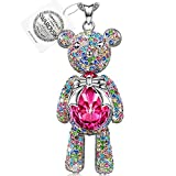 "Pauline & Morgen ""Teddy Bear"" Pink SWAROVSKI ELEMENTS Crystal Pendant Women Necklace Birthday Valentines Mothers Day Christmas Anniversary Wedding Gifts for Wife Girl Mother Daughter"