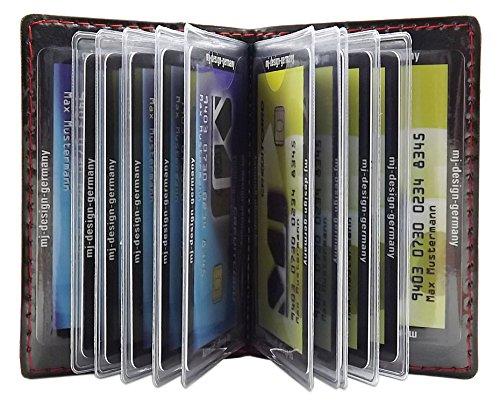 Porta carte di credito con 12 scomparti MJ-Design-Germany Made in UE in diversi colori e designs (Design 4 / Nero )