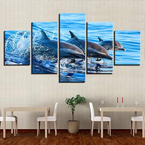 alicefen Mauer - Kunst - leinwand drucken zuhause Dekoration Tunicata 5 Pieces Dolphin - modul Kinder Zimmer Bild landschaftskunst Plakat ohne Rahmen