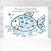 Fingerabdruck Fisch Kommunion Geschenk, Kommunion Fisch, Kommunion Gästebuch Alternative, Fingerabdruck Baum Kommunion 29x42cm Poster