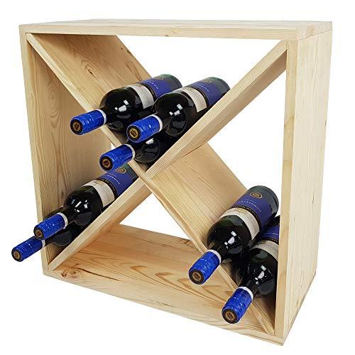 SunDeluxe Weinregal Bacchus X-Cube - Flaschenregal 52 x 52 x 25 cm mit X-Form - Weinständer für bis zu 24 Flaschen, Farbe:Natur