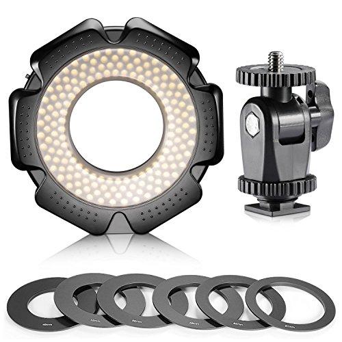 Neewer R-160 160 Stück 5600K 10W Mini-LED-Makroring -Licht mit 6 Adapterringe (49mm / 52mm / 55mm / 58mm / 62mm / 67mm) für Makro Canon /...