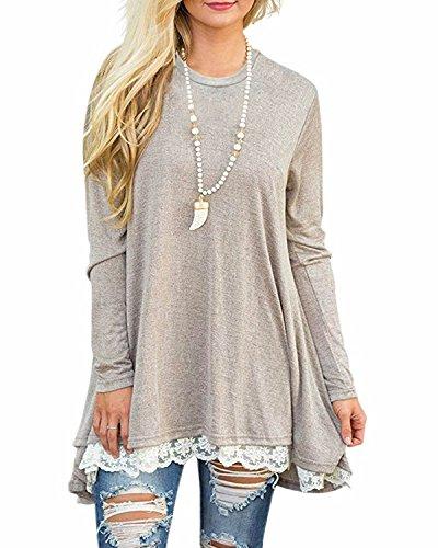 GIKING Women's Vintage Long Sleeve A-Line Lace Tunic Loose T-Shirt Dress