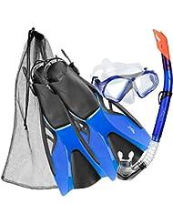 Di Ficchiano Bahamas–Gafas de buceo + esnorquel + aletas, Df-msf, azul, L - Schuhgröße 43-44