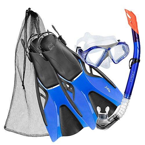 DF-Bahamas Schnochel-Taucherbrille-Schwimmflossen Set, blue, Gr. S