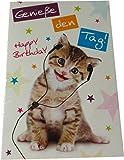 Glückwunschkarte Zum Geburtstag - Genieße den Tag! - Katze mit Kopfhörer - Mehrfarbig - mit Briefumschlag