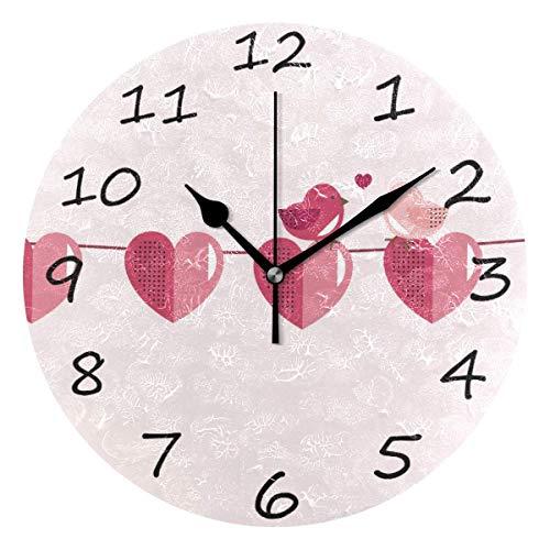 dfegyfr Wanduhr, Valentinstag Vogel 9,8 Zoll leicht zu lesen Bunte batteriebetriebene Uhr, für Schlafzimmer, Wohnzimmer, Küche, Büro