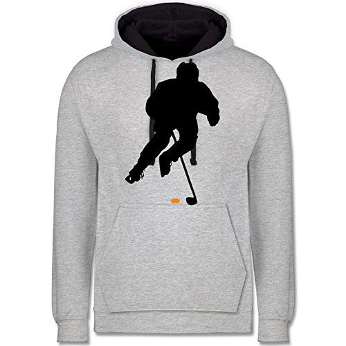 Shirtracer Eishockey - Eishockey Spieler - XL - Grau meliert/Navy Blau - JH003 - Kontrast Hoodie