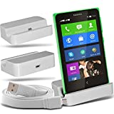 i-Tronixs (White + Data Cable) Nokia Lumia x2 dual sim Premium Stylish Micro USB Desktop Ladestation Tischständer mit Micro-USB-Flat Data Sync Ladekabel