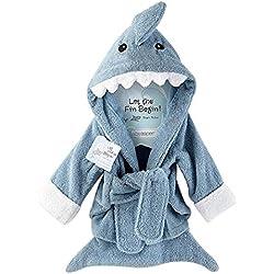 URAQT Bebé Albornoz Algodón, Pijamas Con Capucha De Baño, , de Mangas Largas, con Patrón Animale (gris tiburón)
